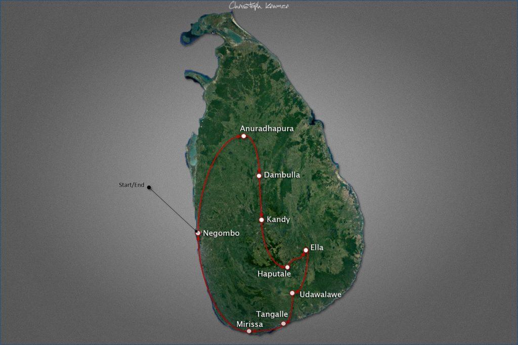 Unsere Sri Lanka Rundreise Route