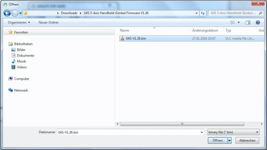 Feiyu G4S - Firmware öffnen