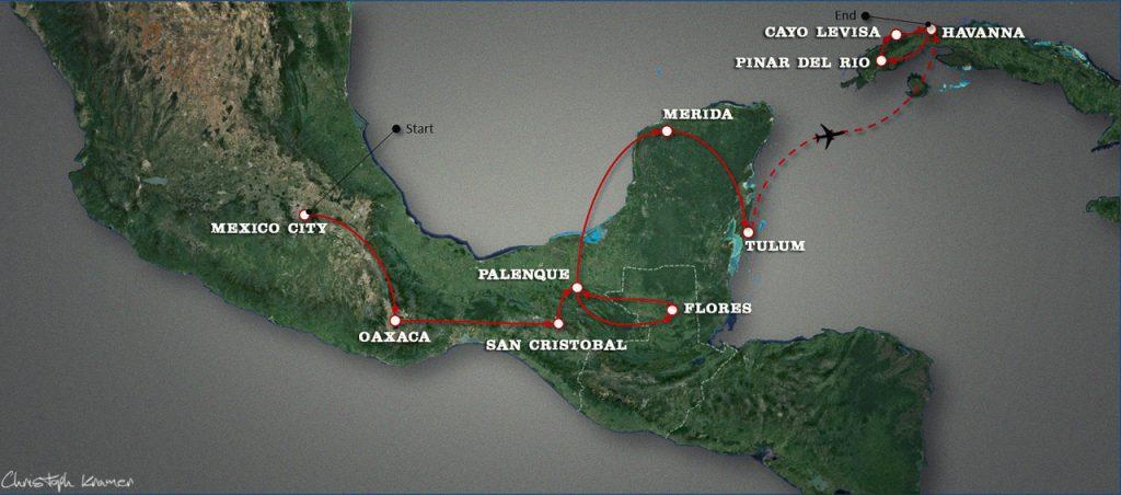 Unsere Mexico -Guatemala - Cuba Route