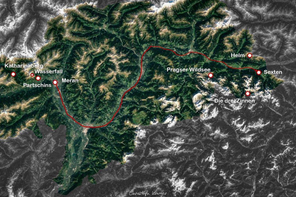 Unsere Südtirol Reise Route