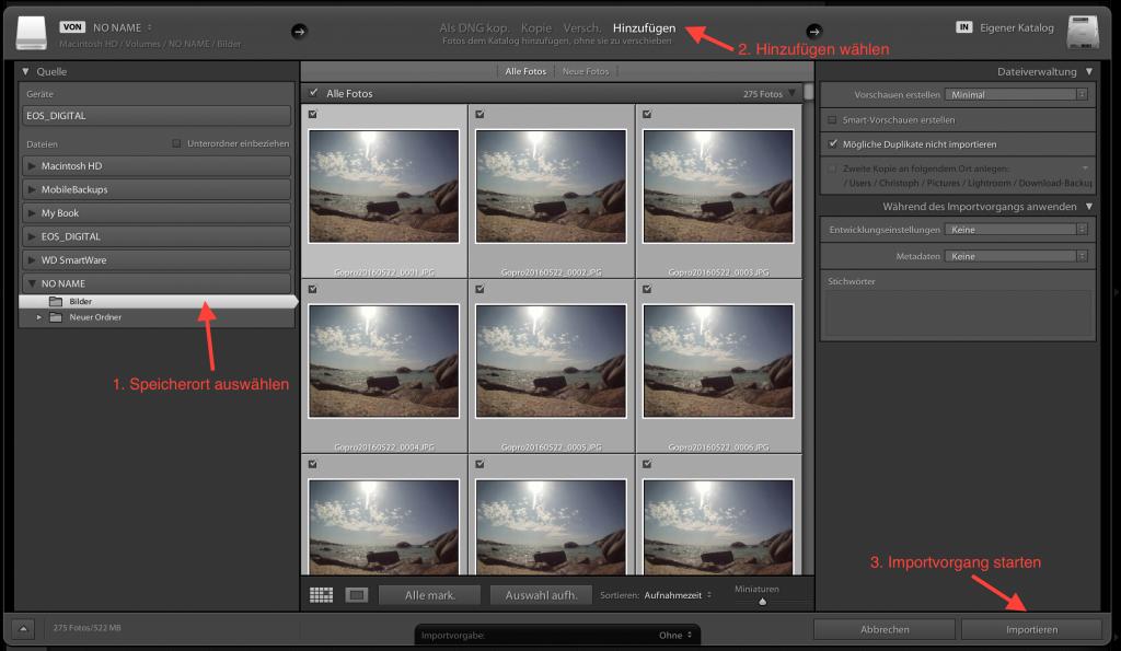 Lightroom: Bilder und Videos importieren