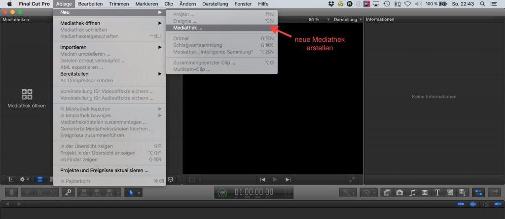 FCPX: Mediathek erstellen