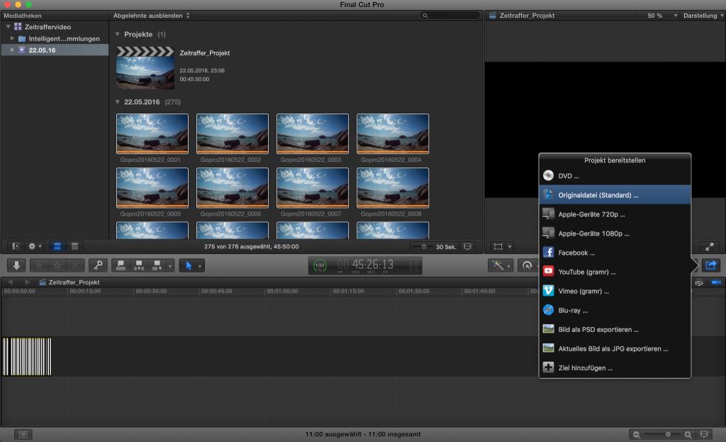 FCPX: Bilder als Video exportieren