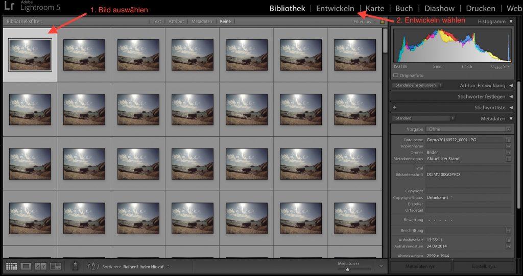 Lightroom: Bild auswählen und bearbeiten