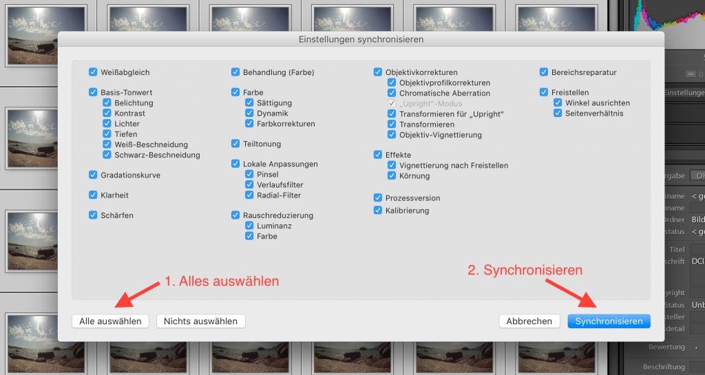Lightroom: Bilder synchronisieren