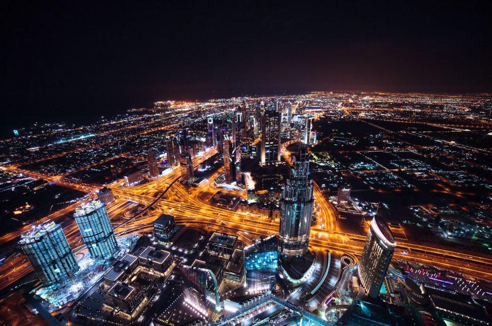 Aussicht vom Burj Khalifa bei Nacht