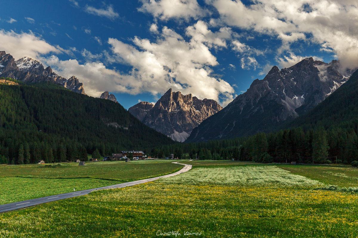 Ausblick auf den 12er Kofel der Sextner Dolomiten