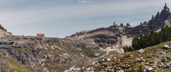 Panorama Blick auf die Dreizinnenhütte
