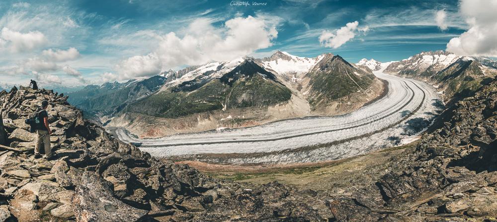 Die gewaltige Schleife des Aletschgletscher