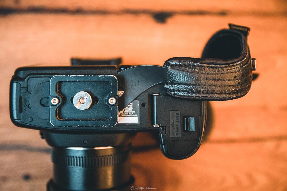 Montage mit Kameraplatte an der Canon EOS 5D Mark2