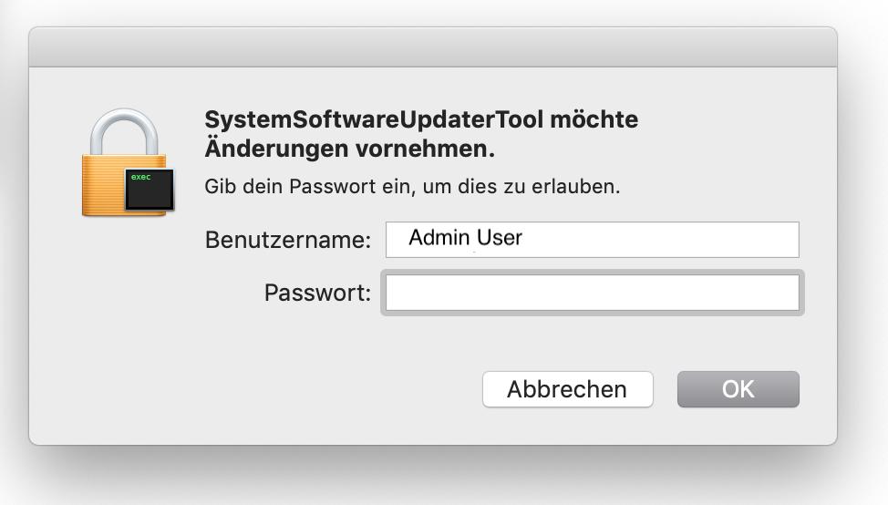mit dem Admin User die Software starten