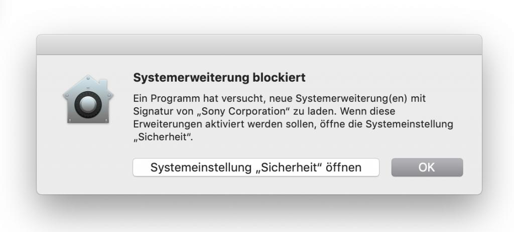 Wechseln in die MacOS Systemeinstellungen