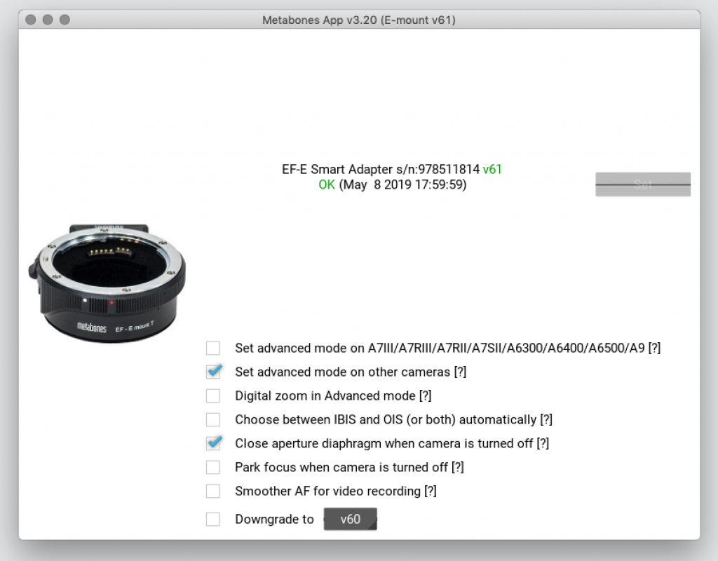 erfolgreiches Update des Metabones Adapters