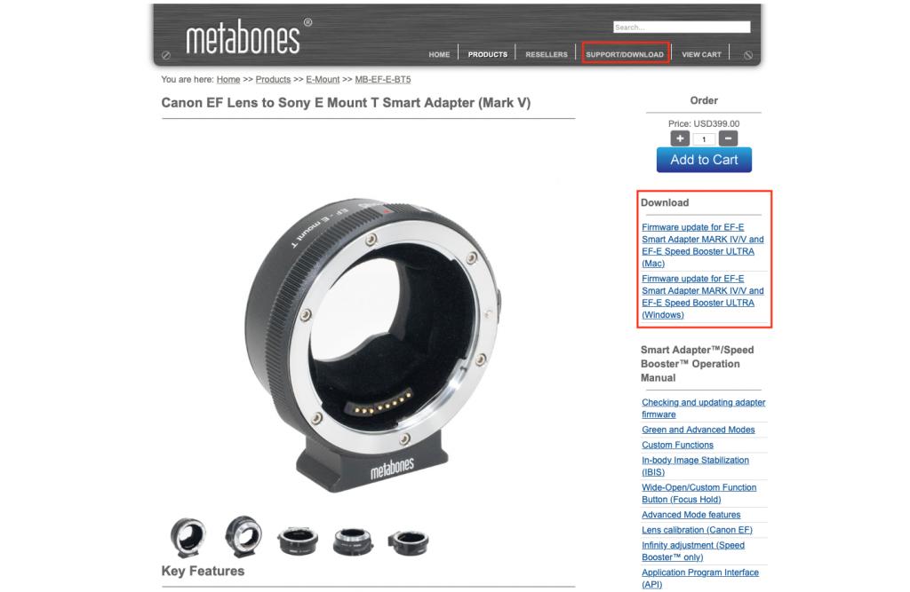 Metabones Software downloaden