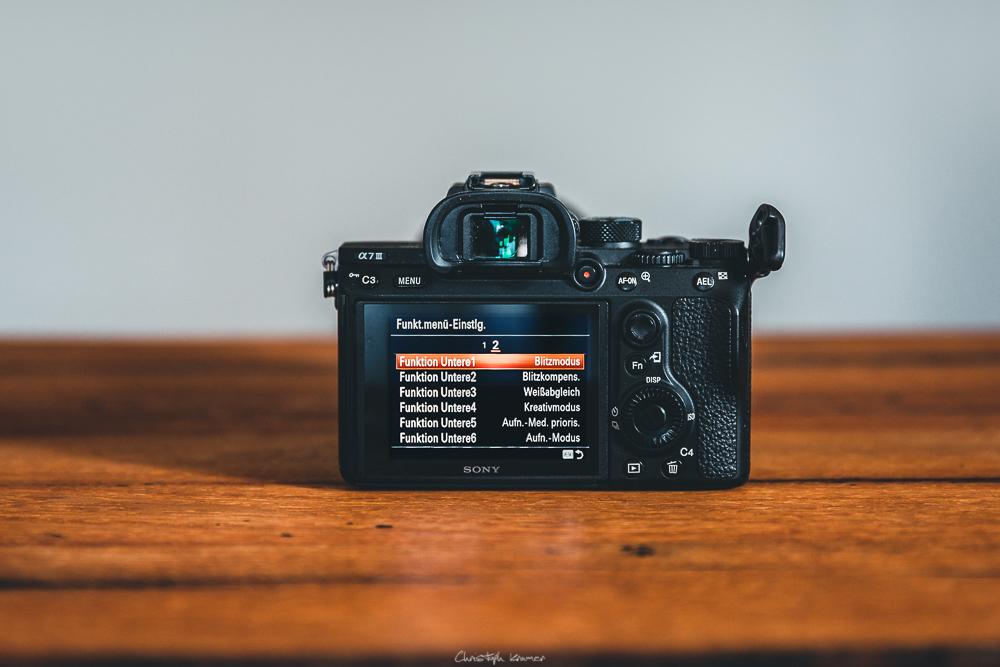 Sony A7 III Kameramenü: Funktionsmenü anpassen: Untere Reihe