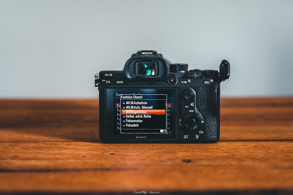 Sony A7 III Kameramenü: Funktionsmenü anpassen: Funktion auswählen