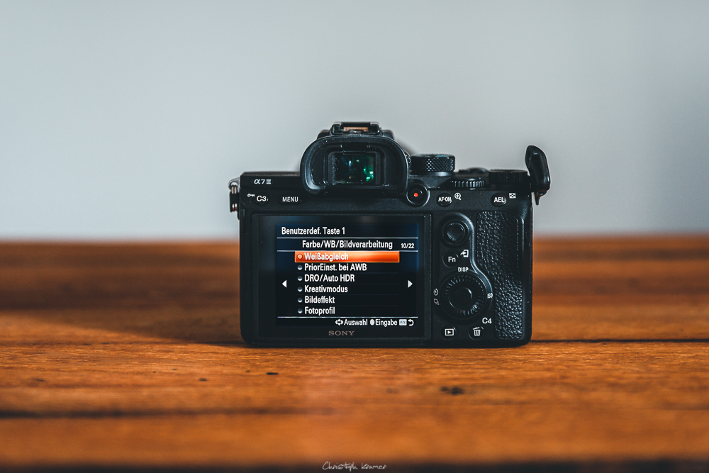 Sony A7 III Kameramenü: BenutzerKey: Benutzerdef. Taste1: Weißabgleich