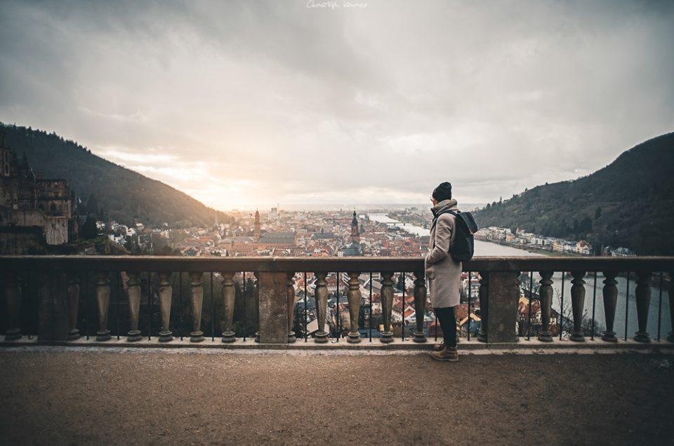 Heidelberg mit der Sicht einer Retrolinse